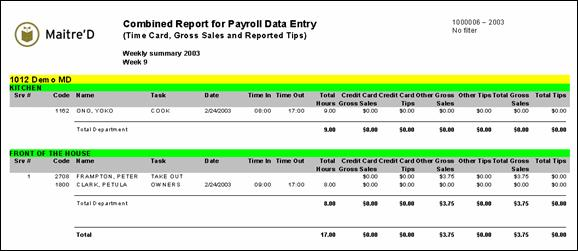 Combined Report For Payroll Data Entry