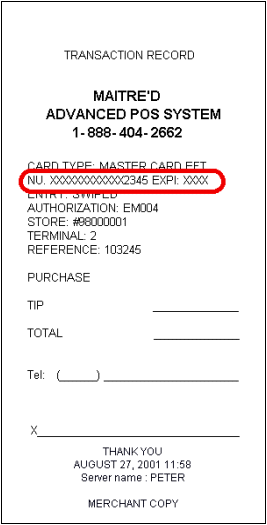 Hide Card Number on Receipt